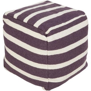 "18"" Plum Purple and Cream Simply Striped Wool Square Pouf Ottoman"