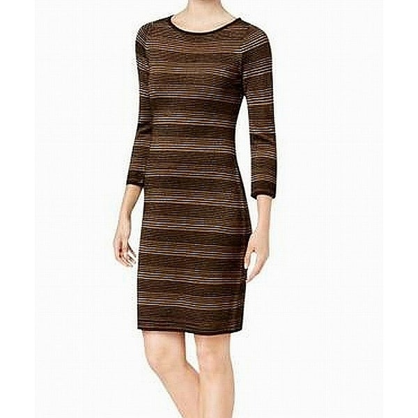 8880eec8b0b Shop Calvin Klein Black Womens Size XL Mini Striped Sweater Dress - On Sale  - Free Shipping On Orders Over  45 - Overstock - 27143604