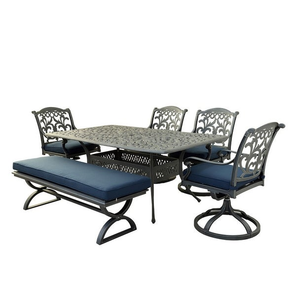 Marina Melbourne 6 Piece Outdoor Aluminum Dining Set with Cushions. Opens flyout.