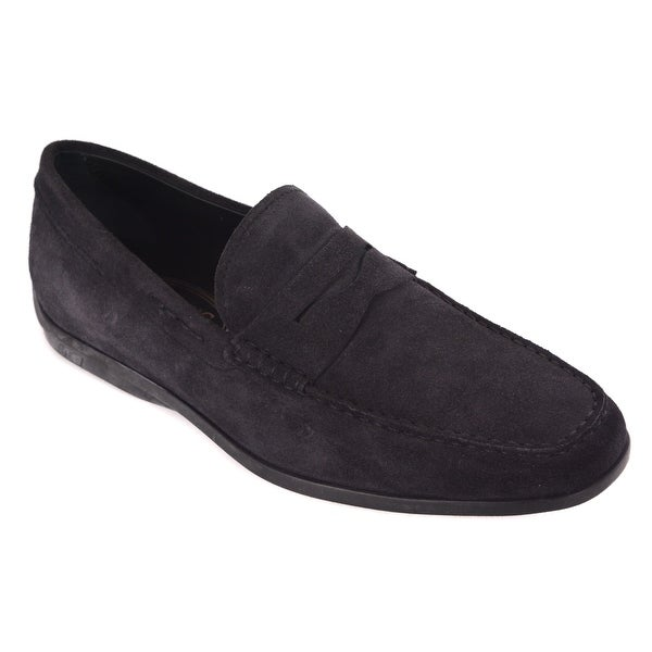 17396abfbf6 Shop Tods Mens Navy Blue Suede Penny Bar Loafers - Free Shipping ...