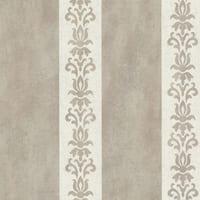 Brewster 672-20075 Parisi Grey Embellished Damask Stripe Wallpaper