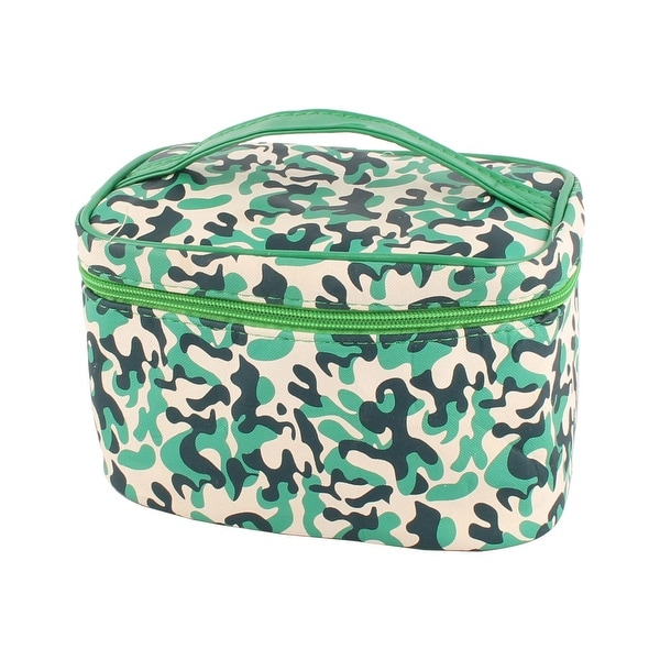 Polyester Handing Strap Zipper Closure Toiletry Case Cosmetic Bag Tricolor