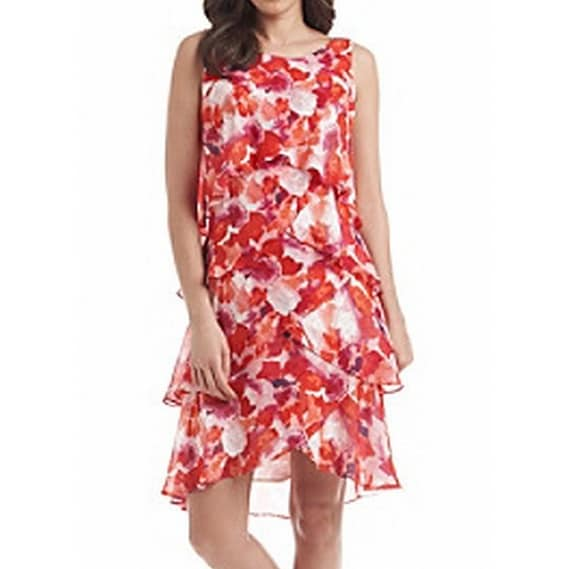 ae68685a23121 Shop SLNY NEW Red Tiered Chiffon Women s Size 16 Sheath Floral Dress - Free  Shipping On Orders Over  45 - Overstock - 18367004