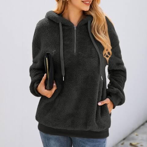 Womens 1/4 Zipper Sherpa Pullover Fuzzy Fleece Sweatshirt Hoodie Pockets