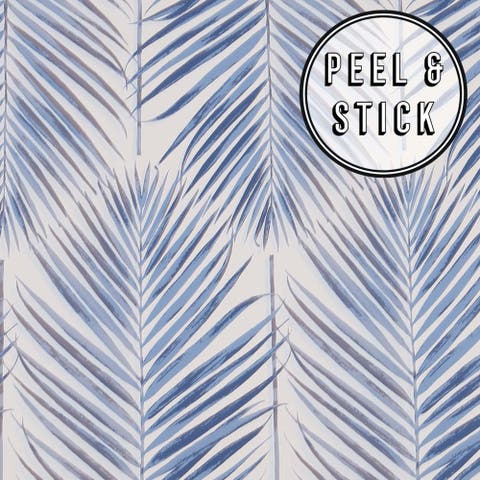 Transform Blue Palm Leaves Peel and Stick Wallpaper