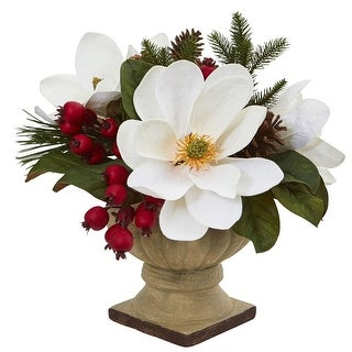 """Nearly Natural 15"""" Magnolia, Pine and Berries Artificial Arrangement"""