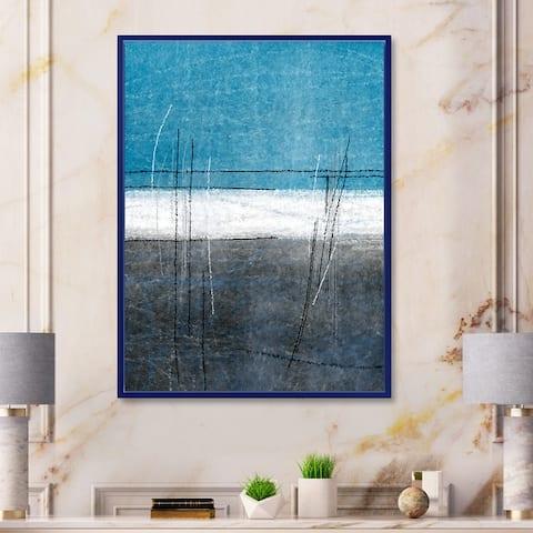 Designart 'Teal Meets Grey Abstract Art' Modern Framed Canvas Wall Art Print