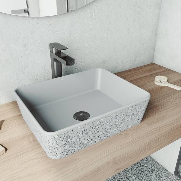 Vigo Rectangular Zinnia Cast Stone Vessel Bowl Bathroom Sink On Sale Overstock 30726097