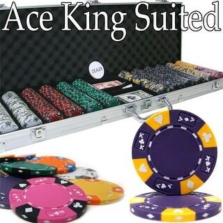 PCS-2804 Pre-Pack - 600 Ct Ace King Suited Chip Set Aluminum Case