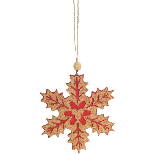 Pack of 24 Decorative Wooden with Red Snowflake Ornaments - brown
