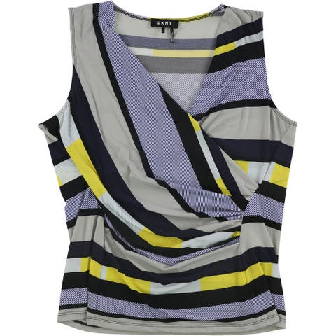 DKNY Womens Striped Sleeveless Blouse Top, Blue, X-Large