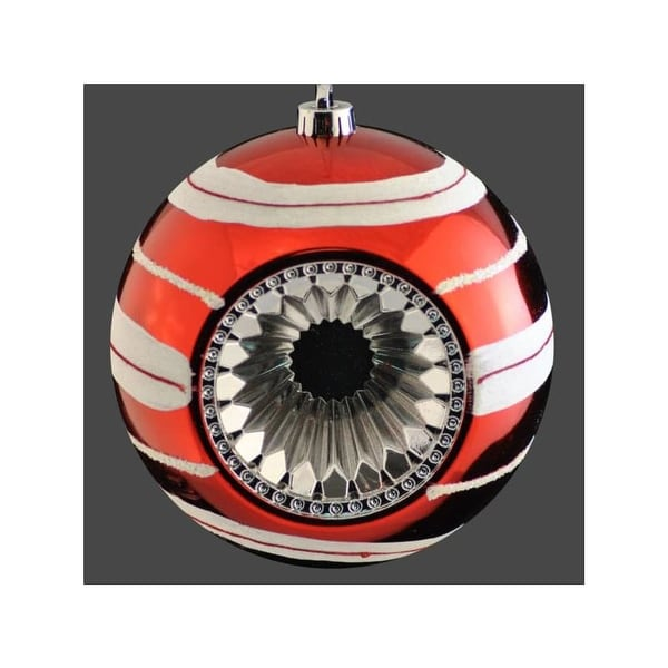 Christmas at Winterland WL-ORN-BALL-RE/WH 8 Inch Red and White Plastic Deep Dish Reflector Hanging Ball Ornament