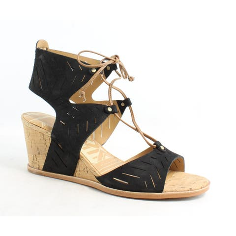 Dolce Vita Womens Langly Black Nubuck Sandals Size 8.5