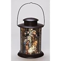 "12"" Battery Operated LED Lighted Religious Holy Family Christmas Nativity Lantern - Black"