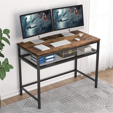 "39"" Computer Desk with Storage Shelf, Writing Desk Study Table for Small Space"