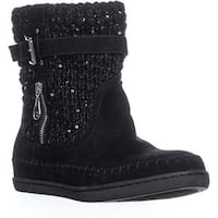 Guess Ruddy Buckle Zip Up Boots , Black Multi - 9.5 us