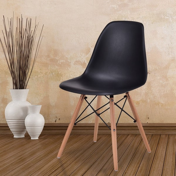 Costway Dining Side Armless Accent Chair Molded Plastic Seat Eiffel Wood Legs Black