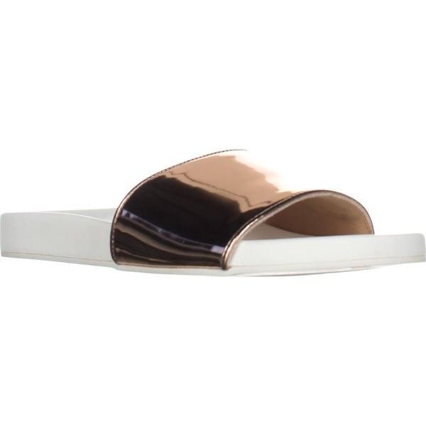 B35 Reagan Flat Casual Slide Sandals, Rose Gold