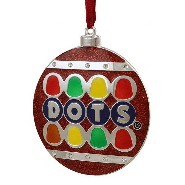 "3.5"" Silver Plated Dots Candy Logo Christmas Ornament with European Crystals - RED"