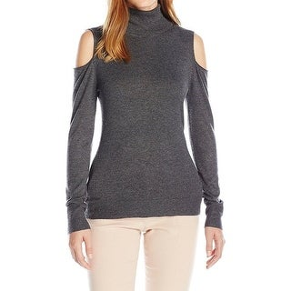 T Tahari NEW Gray Womens Size XS Turtleneck Cold-Shoulder Sweater