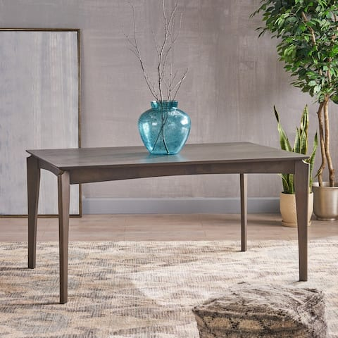 Wren Mid-Century 6-Seater Rubberwood Dining Table with Walnut Veneer by Christopher Knight Home