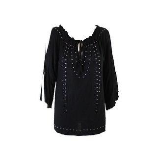 d4a7ce77e45 Shop Inc International Concepts Black Stud-Embellished Cold-Shoulder Top S  - On Sale - Free Shipping On Orders Over  45 - Overstock - 24174572
