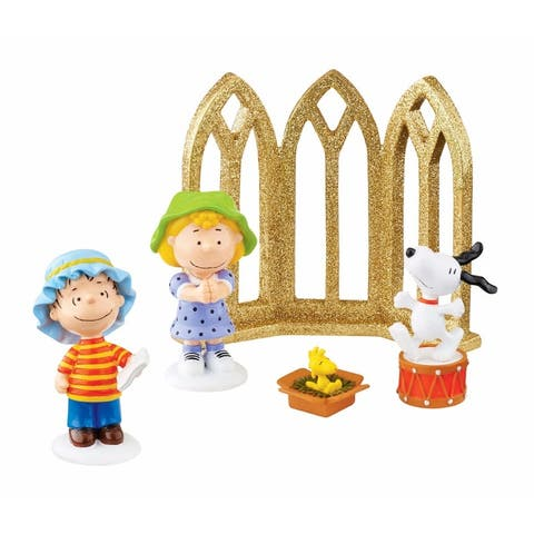 """Set of 5 Gold and White Christmas Nativity Figurine 4.25"""""""