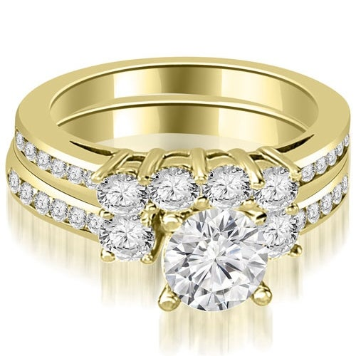 2.27 cttw. 14K Yellow Gold Round Cut Diamond Engagement Set - White H-I