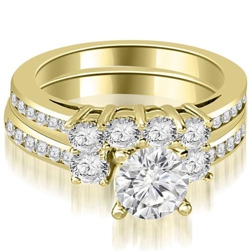 2.27 cttw. 14K Yellow Gold Round Cut Diamond Engagement Set