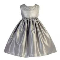 Crayon Kids Girls Silver Glitter Sequin Scroll Pattern Christmas Dress