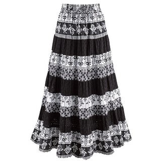 Catalog Classics Women's Black & White Tiered Eyelet Skirt - Mixed Patterns Maxi