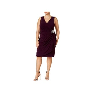 Calvin Klein Womens Plus Cocktail Dress Embellished Faux Wrap