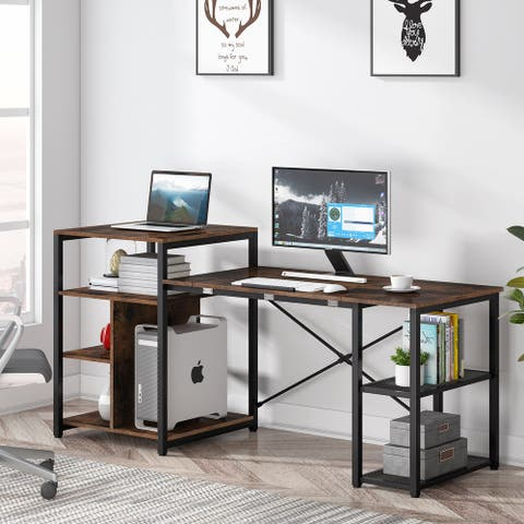 Computer Desk with Storage Shelves,Drafting Table with Tiltable Tabletop 70 inches Home Office Gaming Desk with Printer Stand