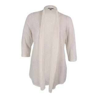 JM Collection Women's 3/4 Sleeves Open Front Cardigan (1X, Eggshell) - Eggshell