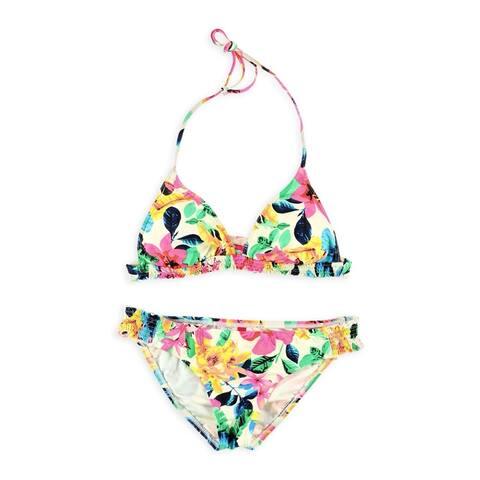 Bikini Lab Womens Banded Tri Hipster 2 Piece Bikini, white, Medium