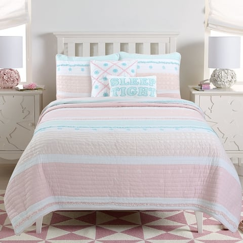 Cozy Line Home Fashions Pastel Stripped Star Ruffle Embroidered Floral Light Pink Peach Blue White Cotton Quilt Bedding Set