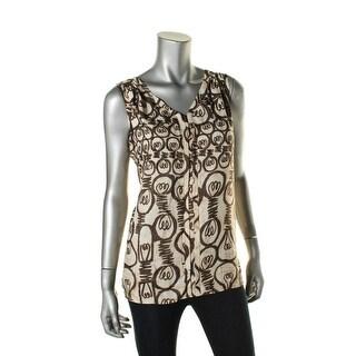 Nic + Zoe Womens Bright Idea Graphic Sleeveless Pullover Top