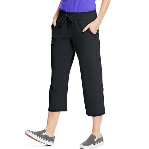 Hanes Women's French Terry Pocket Capri - Size - XL - Color - Black