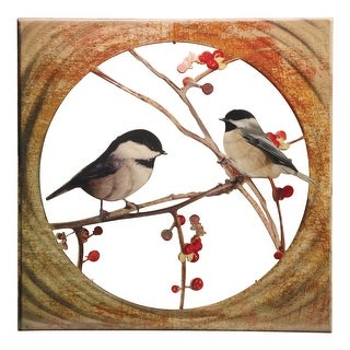 Next Innovations Chickadees on Branches Wall Art - Indoor Outdoor Powdercoated Steel Patio Home Decor - 16 in.