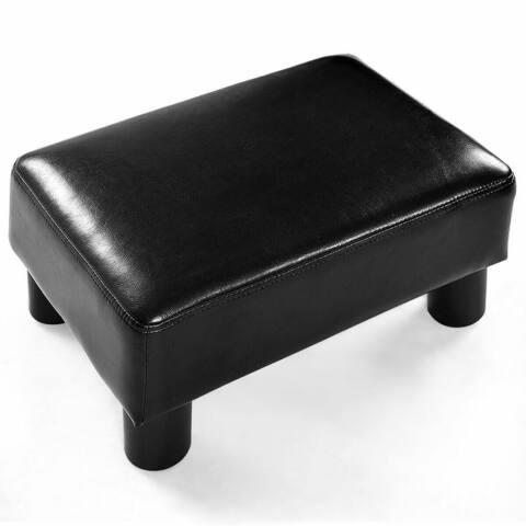 Small Footstool PU Leather Ottoman Footrest Rectangular Stool