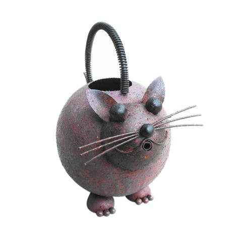 Offex Handmade Iron Multi Color Cat Watering Can