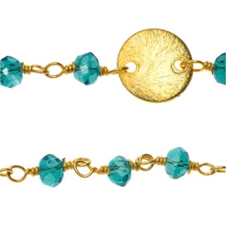 Vermeil Gold Wire Wrapped Chain, 3.5mm Glass Rondelles and 8mm Pailettes, 1 Inch