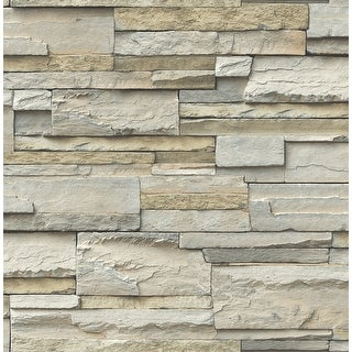 Link to Brewster NU2675 Faux Stacked Slate Stone Wall Vinyl Peel and Stick - Neutral Similar Items in Wall Coverings