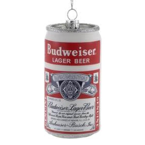 "3"" Anheuser Busch Budweiser Beer Can Glass Christmas Ornament - RED"