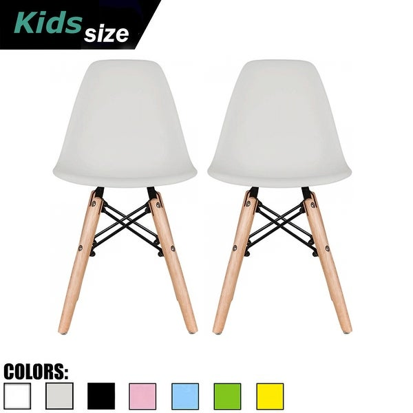 2xhome Set of 2 Light Grey Modern Kids Size Molded Plastic Armless Chair Color Seat for Children's Room Natural Wood Eiffel Legs