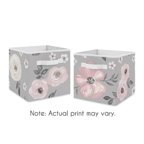Grey Watercolor Floral Collection Foldable Fabric Storage Bins - Blush Pink Gray and White Shabby Chic Rose Flower Farmhouse