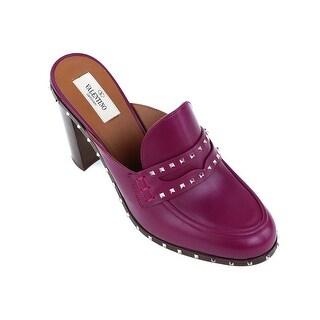 Valentino Purple Leather Rockstud Mule Loafers