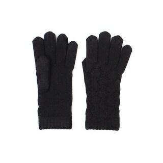 Womens Lace Knit Winter Gloves Fleece Lined