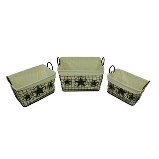 3 Piece Western Stars Metal Mesh Rustic Brown Lined Nesting Basket Set