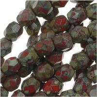 Czech Fire Polished Glass Beads 4mm Round Opaque Red Picasso (50)